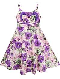 Sunny Fashion - Vestido con estampado floral para niña morado