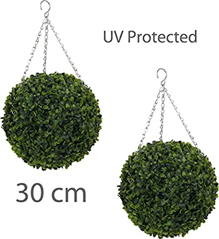 Pair of Topiary 30cm Leaf Effect Ball Hanging UV Protected Galvanized Chain