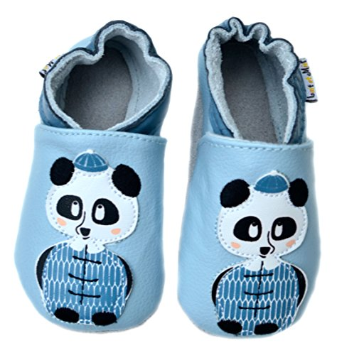 Lait et Miel Leder Lauflernschuhe Krabbelschuhe Babyschuhe mit Motiv Eichhörnchen blau blue 0-6 Monate Bär