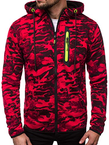 OZONEE Herren Sweatshirt Pullover Kapuzenpullover Camouflage Pulli Sweats Hoodie J.Style DD99-20 M ROT