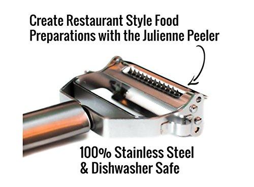 PREMIUM # 1en juliana PEELER- Ultra Sharp Acero Inoxidable Dual en juliana y verduras peeler-all utilizar con 3en 1pelador de patatas, empuñaduras Vegetable Spiralizer, Cortador Zanahoria pelador de mano-libre cepillo de