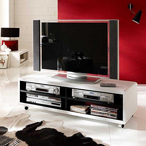 Pharao24 TV Rollwagen in Weiß 120 cm breit (Weiß Tv-wagen)