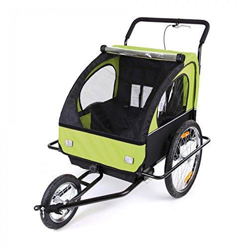 SAMAX Fahrradanhänger Jogger 2in1 Kinderanhänger Kinderfahrradanhänger Transportwagen gefederte Hinterachse für 2 Kinder in Grün/Schwarz neu – Black Frame - 4