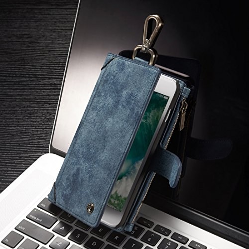 Hülle für iPhone 7 plus , Schutzhülle Für iPhone 7 Plus Multifunktionsleder-Kasten mit abnehmbarem magnetischem PC rückseitiger schützender Fall ,hülle für iPhone 7 plus , case for iphone 7 plus ( Col Blue