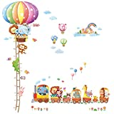 Decowall DA-1606N1406A Heißluftballon Höhentabelle Zug Tiere Wandtattoo Wandsticker Wandaufkleber Wanddeko für Wohnzimmer Schlafzimmer Kinderzimmer