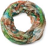 styleBREAKER Ethno Batik Muster Loop Schlauchschal, Crash and Crinkle, seidig leicht, Damen 01016087, Farbe:Grün-Orange