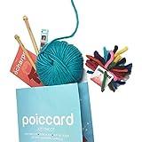 Kit de punto para adultos principiantes–Pack Fijación para tejer una primera bufanda en gruesa lana–Agujas de tejer de madera 15mm–gruesa lana del Perú azul turquesa