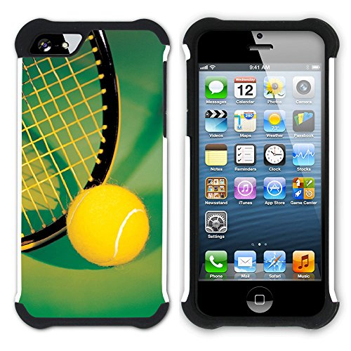 Graphic4You Tennis Ball Sport Hart + Weiche Kratzfeste Hülle Case Schale Tasche Schutzhülle für Apple iPhone SE / 5 / 5S Design #10