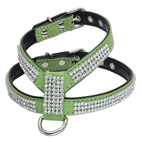 Feli546Bruce Collar para Mascotas, Ajustable de Piel sintética Brillante con Diamantes de imitación para Perro, Accesorio para Perro