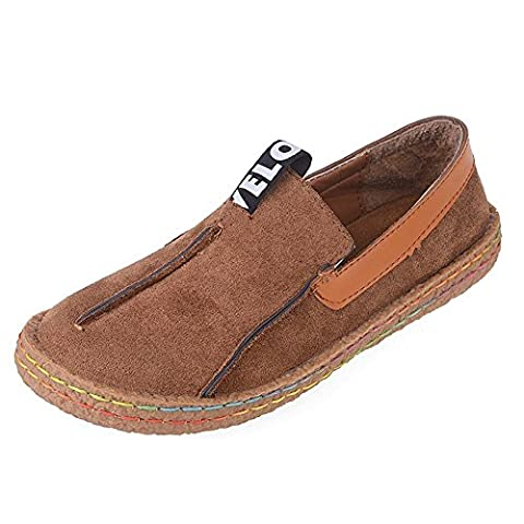 Minetom Women's Summer Comfort Round Toe Suede Penny Loafers Flats Sandals Slip-on Walking Shoes Brown UK 5