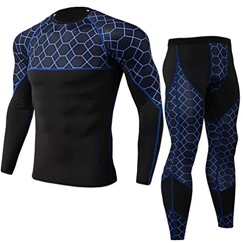 Yujeet Männer Sport Compression Sets Männer Gemustertes Elastisches Fitness Langarm Schnelltrocknendes T-Shirt & Männer Sport Enge Fitnesshose (Blau, Asia XL) -