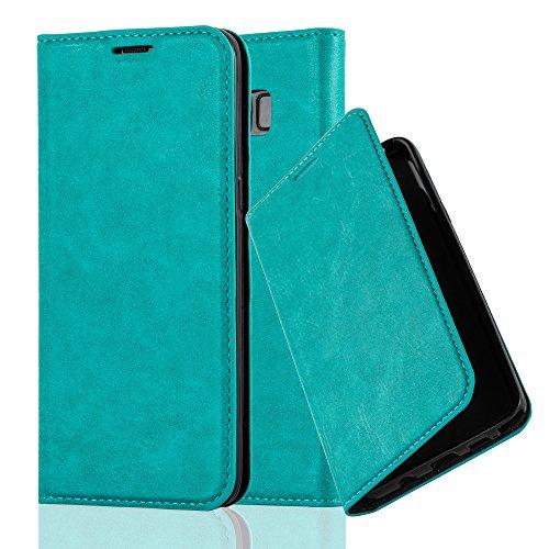 Cadorabo Hülle für Samsung Galaxy S8 - Hülle in Petrol TÜRKIS - Handyhülle mit Magnetverschluss, Standfunktion & Kartenfach - Case Cover Schutzhülle Etui Tasche Book Klapp Style