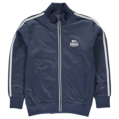 Lonsdale Kinder Jungen Trainingsjacke Sportjacke Jacke Streifen Detail Marineblau/Grau 11-12 Jahre L