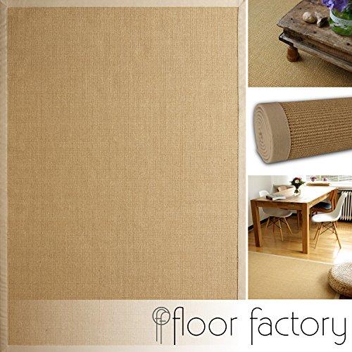 *floor factory Sisal Teppich Beige 110×170 cm 100% Naturfaser mit Leinenbordüre*