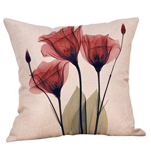 Bellelove❤ Blumendruck Kissenbezug, Vintage Baumwolle Leinen Home Sofa Dekoration Runde Kissenbezug Blume Kissenbezug Vogue
