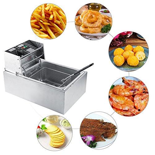 Friggitrice da 6 litri, friggitrici friggitrice elettrica professionale in acciaio inox, con coperchio antispruzzo, 2500 w