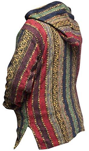 Shopoholic Mode Damen Mehrfarbig Hippie Kapuzenpullover Boho Baja Kastanienbraun