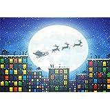 AOFOTO 8x6ft Christmas Backdrop Snowflake Reindeer Pull Santa's Sleigh Photography Background Kid Portrait Xmas Moon Night Urban Buildings Photo Shoot Studio Props Video Drop Vinyl Wallpaper Drape