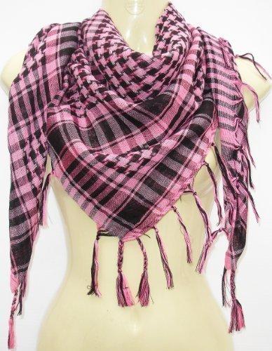 Kuldip Unisex Junge und Mädchen Chequered arabischer Arafat Shemagh Kafiyah Wüste Art-Schal Throw - Schwarz / Rot (Arabische Art)