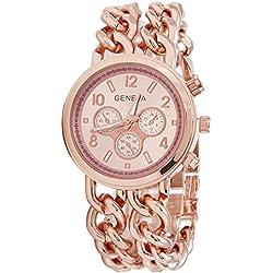 Geneva Platinum Big Size Double Chain Bracelet Rose Gold Women's Timepiece - GP-225