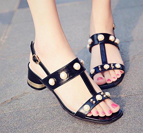 Wort cingulären offene Sandalen weibliche Sandalen weibliche Sommer Sandalen und Pantoffel Black