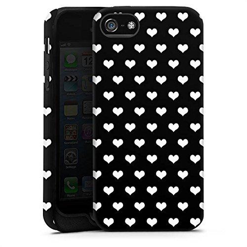 Apple iPhone X Silikon Hülle Case Schutzhülle Polka Herzen Muster Schwarz-Weiß Tough Case matt
