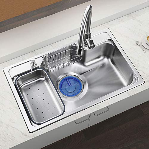 HomeLava Évier de cuisine acier inoxydable 304 avec un bac inox distributeur de savon panier de vidange pour cuisine