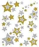 AVERY Zweckform 52952 Sterne Fensterbilder (Folie beglimmert, 6.210 Aufkleber) gold/silber