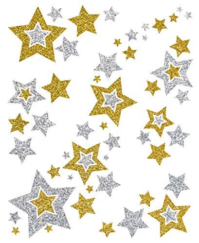 AVERY Zweckform Art. 52952 Fensterbilder Weihnachten (Fenstersticker, Fensterfolie, Fensterdeko, Weihnachtsdeko Fenster, ablösbar, beglimmert) 6 Stück gold/silber