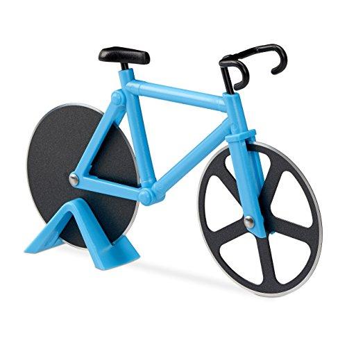 Relaxdays Fahrrad Pizzaschneider, lustiger Pizzaroller mit Schneiderädern, Cutter für Pizza & Teig, (Blau, 1er Set)