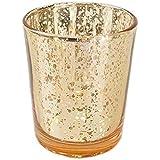 TianranRT Quecksilber Glas Votiv Teelicht Kerze Halter für Hochzeiten Partys und Home Dekor (Gold)