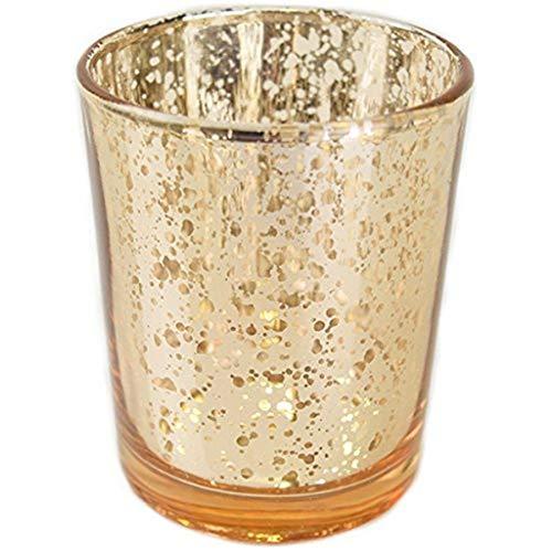 Gold Votiv-kerze (TianranRT Quecksilber Glas Votiv Teelicht Kerze Halter für Hochzeiten Partys und Home Dekor (Gold))