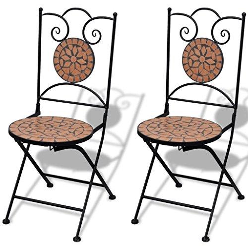Tavolo Da Giardino Con Mosaico.Festnight Set Da Bistro Con Tavolo Rotondo E 2 Sedie Pieghevoli In