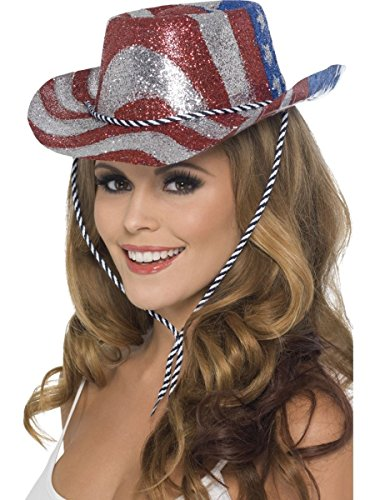 Smiffys Kostüm Zubehör Glitzer Cowboyhut Amerika USA Karneval Fasching Party (Kostüm Amerika)
