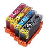 HEMEI @H-364-Cartuccia inchiostro ricaricabile, per HP 364, utilizzando inchiostro originale per HP Deskjet 3070A 3520 3522 3524 Officejet 4622 4620 per stampante a getto d'inchiostro, confezione da 4 pezzi