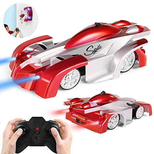 SGILE Auto Telecomandata, RC Auto con 360 Rotazione,Due modalità Wall/Floor e 4 luci a LED, Auto Racer, Ideale Regalo Giocattole per Bambini, Rosso