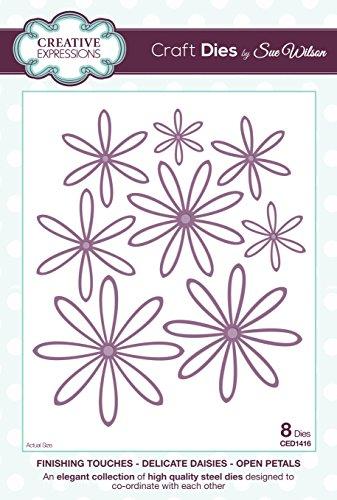 Creative Expressions Finishing Touches Lot de matrices de découpe en forme de fleurs ouvertes Motif marguerites