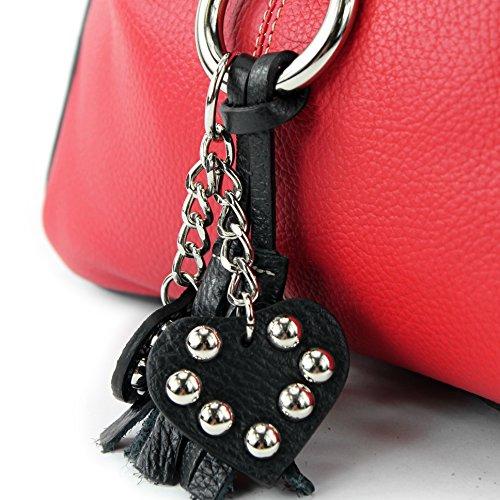modamoda de - ital. Ledertasche Umhängetasche Crossover Leder Medium Damenhandtasche T10 Rot/Schwarz