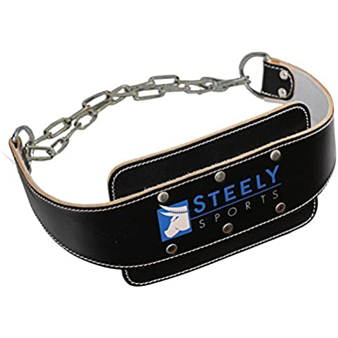 Steely de Sports Power DIP Cinturón de piel–Cinturón de entrenamiento F. flexiones & Dips–Color:
