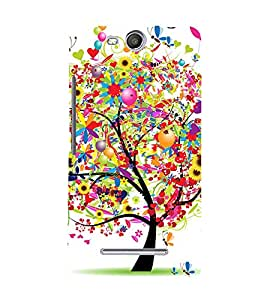 Colorful Tree 3D Hard Polycarbonate Designer Back Case Cover for Micromax Canvas Juice 3 Q392