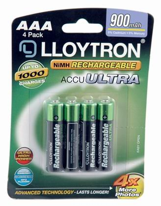Lloytron Lot de 4 piles AccuPower AAA 900 mAh Nimh