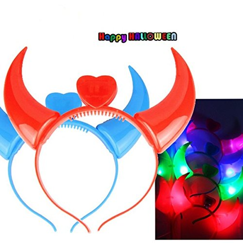 Hörner Teufel Big Kostüm - Bazaar Halloween Kostüme Teufelshörner LED Flash Light Bunte Hochzeit Dekor Supplies