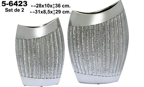 DonRegaloWeb-Set di 2vasi di ceramica di terracotta decorata in color argento
