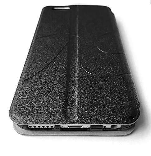THEVERY® - Custodia Smart case iPhone 6 plus Premium Lusso Fodero Cellulare Cover Guaina - cuoio PU nero Custodia Smart case - nero