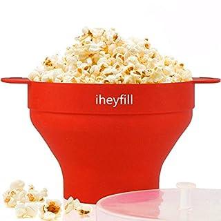 iheyfill Popcorn Popper, Mikrowellen-Silikon Popcorn Maker, zusammenklappbare Schüssel mit Griffen