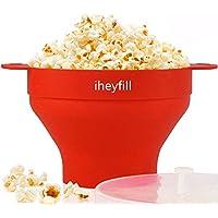 Popcorn popper,Cuenco plegable de silicona, con tapa y asas cómodas y resistentes, Recipiente para hacer palomitas de maíz en el microondas