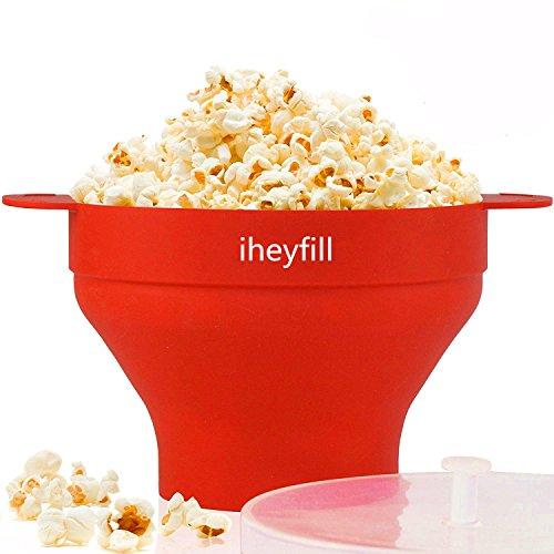 iheyfill Popcorn Popper, Mikrowellen-Silikon Popcorn Maker, zusammenklappbare Schüssel mit Griffen - Schüssel Popcorn,