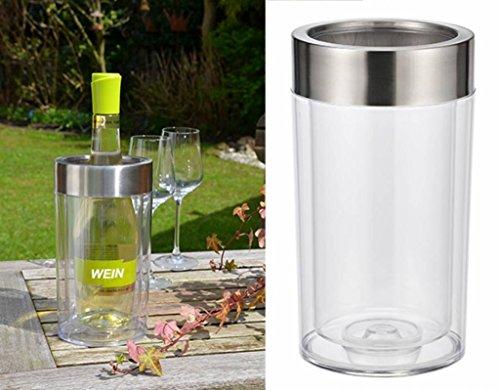 Weinkühler Flaschenkühler aus Kunststoff doppelwandig Höhe 23cm Edelstahlring
