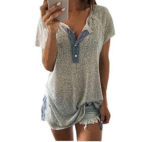 T shirt Femme Col V Manches Courtes été Tunique Casual Lâche Epissure Blouse Hauts Mode