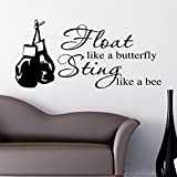 Float Like A Butterfly Sting Link a Bee Wall Sticker Decal Muhammad Ali Boxing Glove - BLACK by THE VINYL BIZ